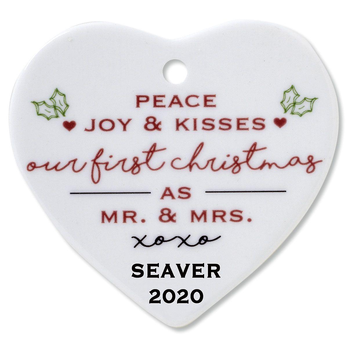 Custom Peace, Joy & Kisses Heart Wedding Christmas Ornament