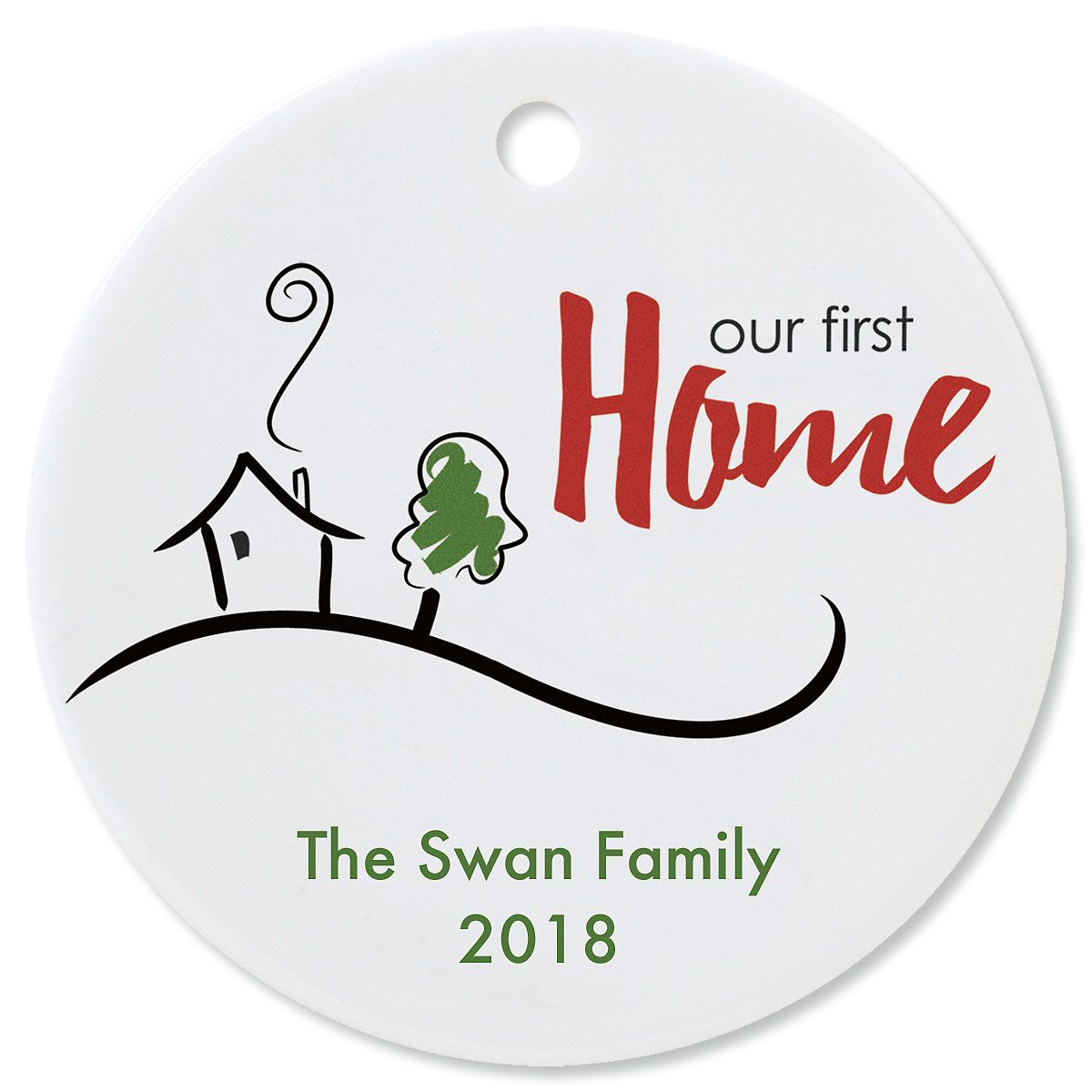 Custom Our First Home Round Christmas Ornament