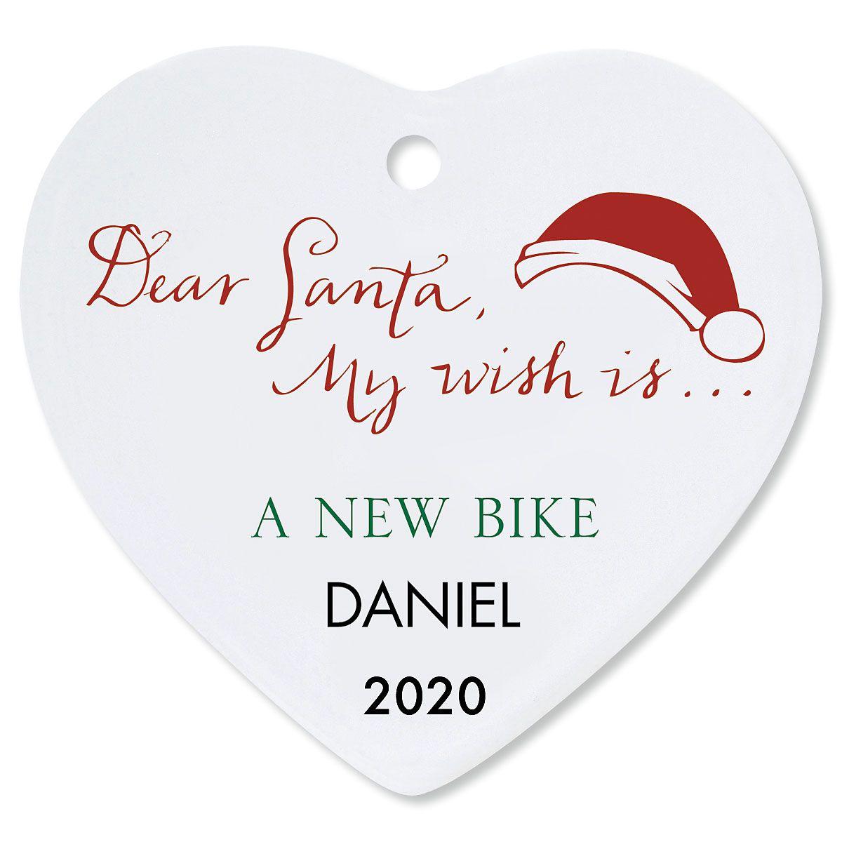 Custom Dear Santa Heart Christmas Ornament