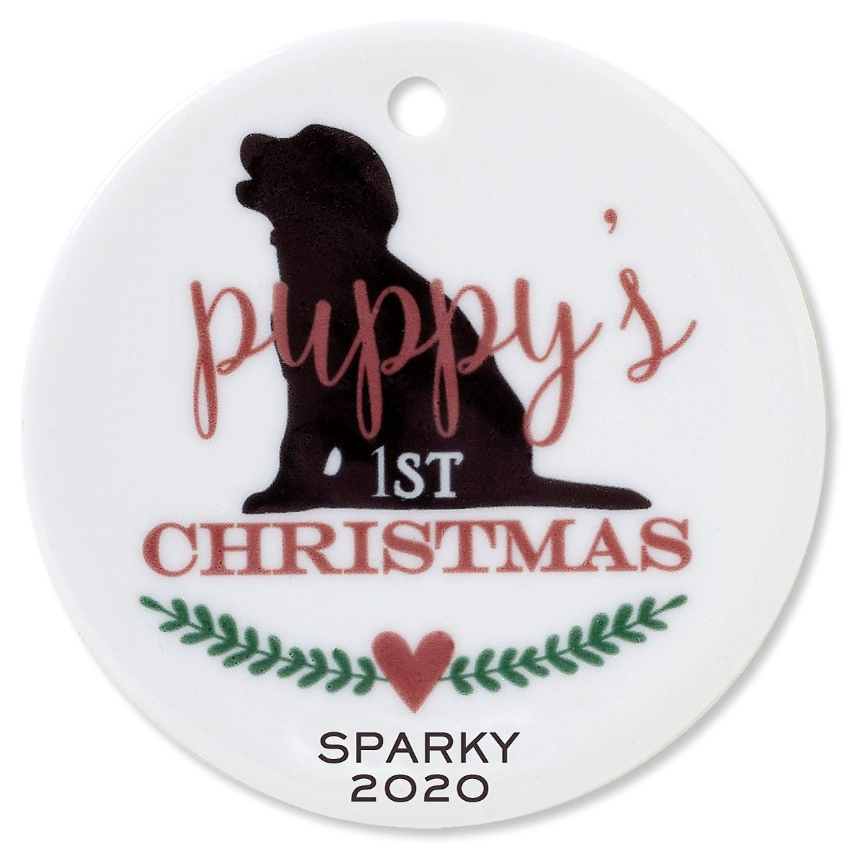 Puppy's 1st Round Pet Christmas Custom Ornament