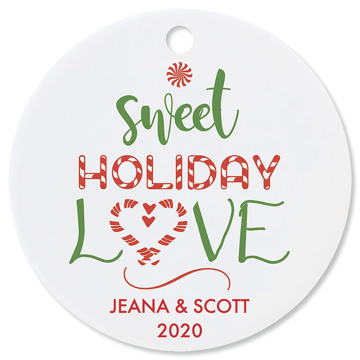 Sweet Holiday Love Custom Christmas Ornament