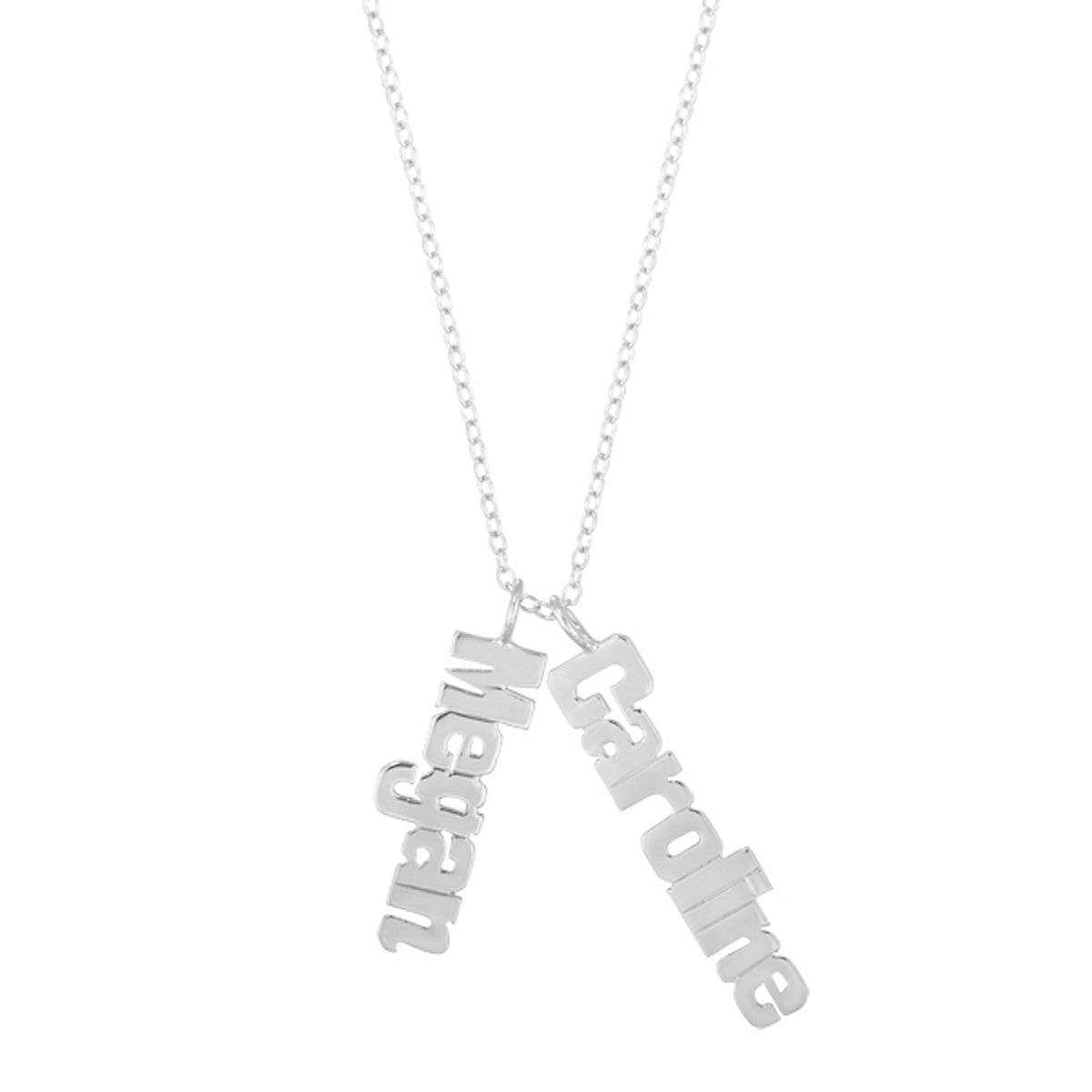 Personalized Silver Vertical Name Plate Necklace