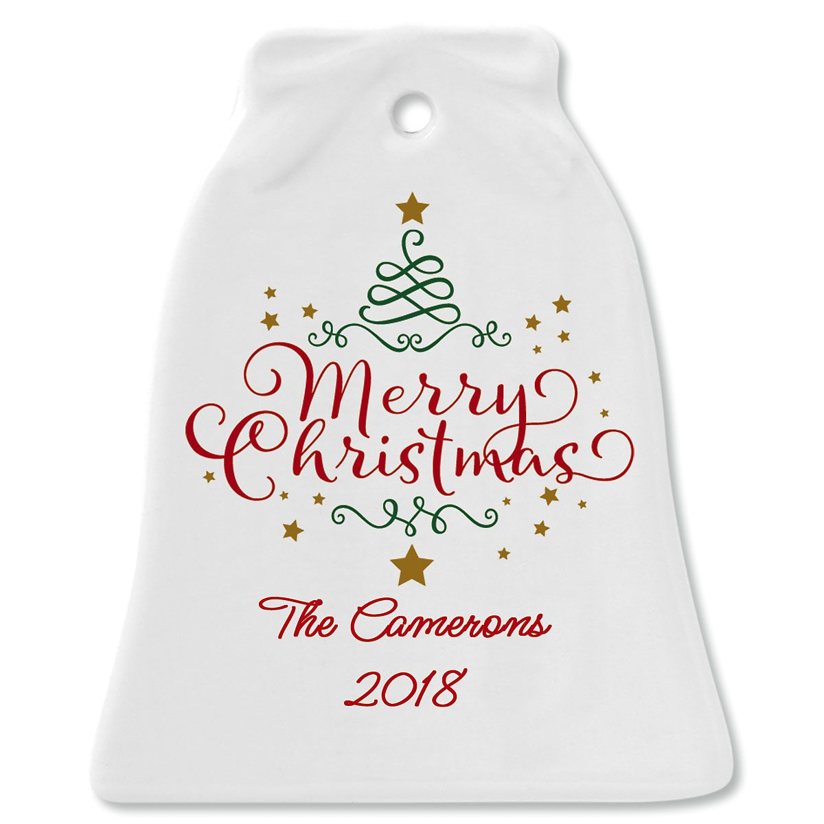 Merry Christmas Custom Bell Christmas Ornament