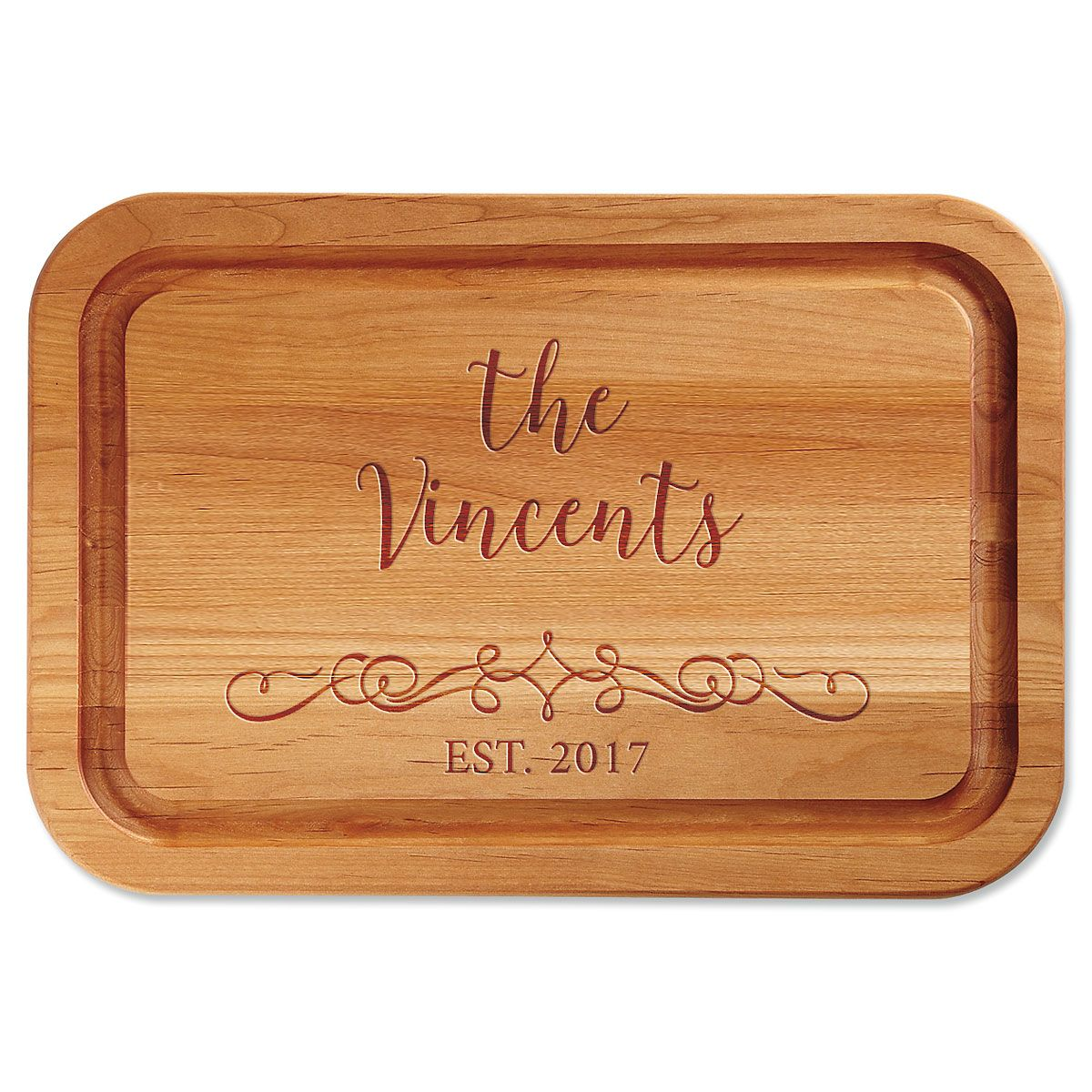 Personalized Vine-Design Red Alder Custom Wood Cutting Board