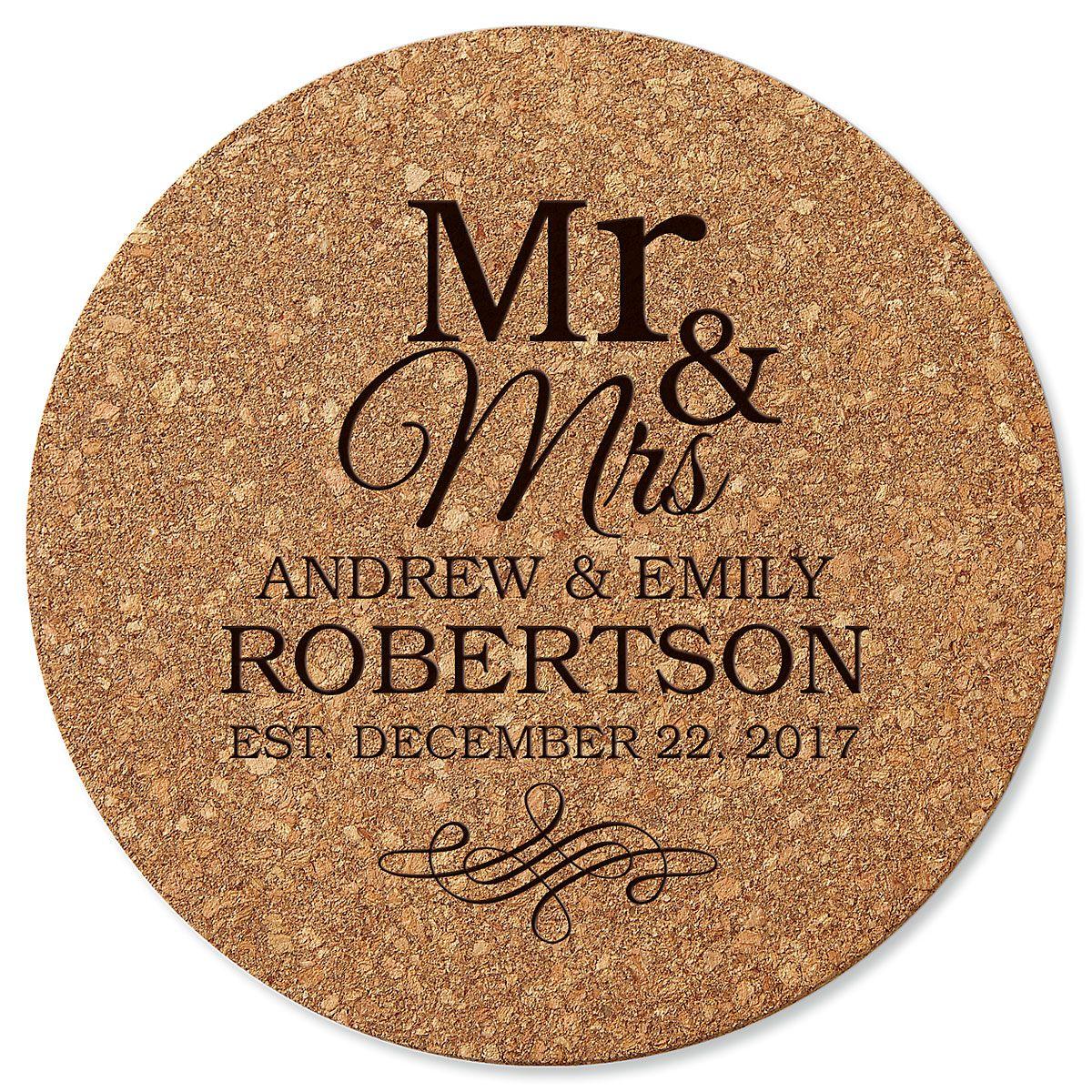 Mr. & Mrs. Custom Round Cork Trivet
