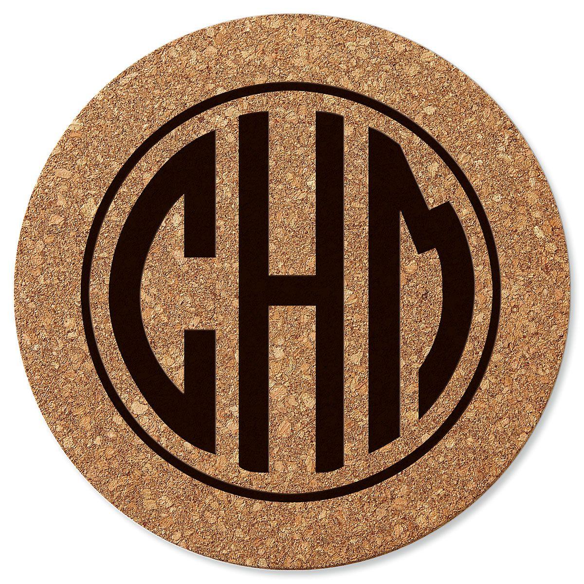 Circle Monogram Custom Round Cork Trivet
