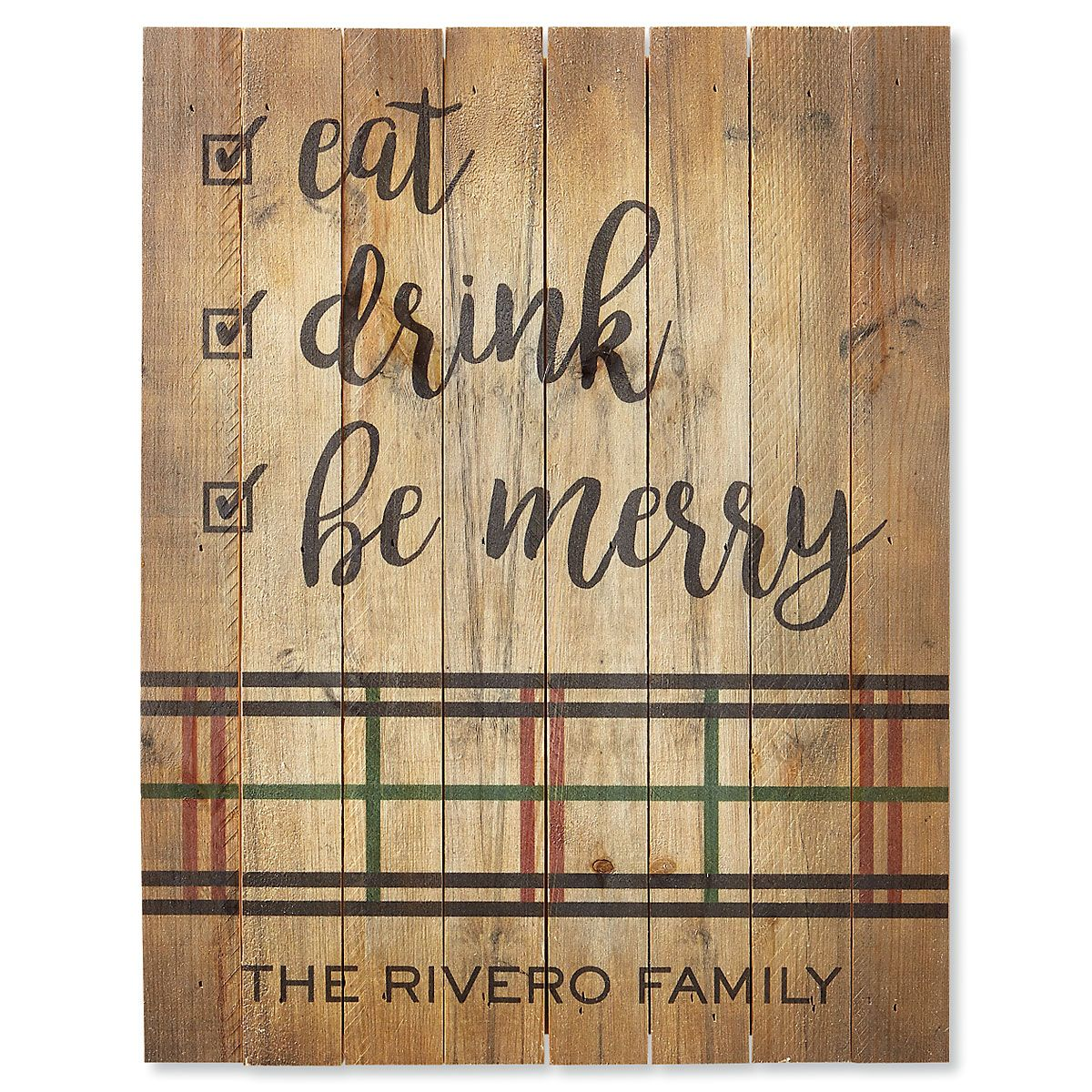 Eat Drink Be Merry Plaid Personalized Plaque