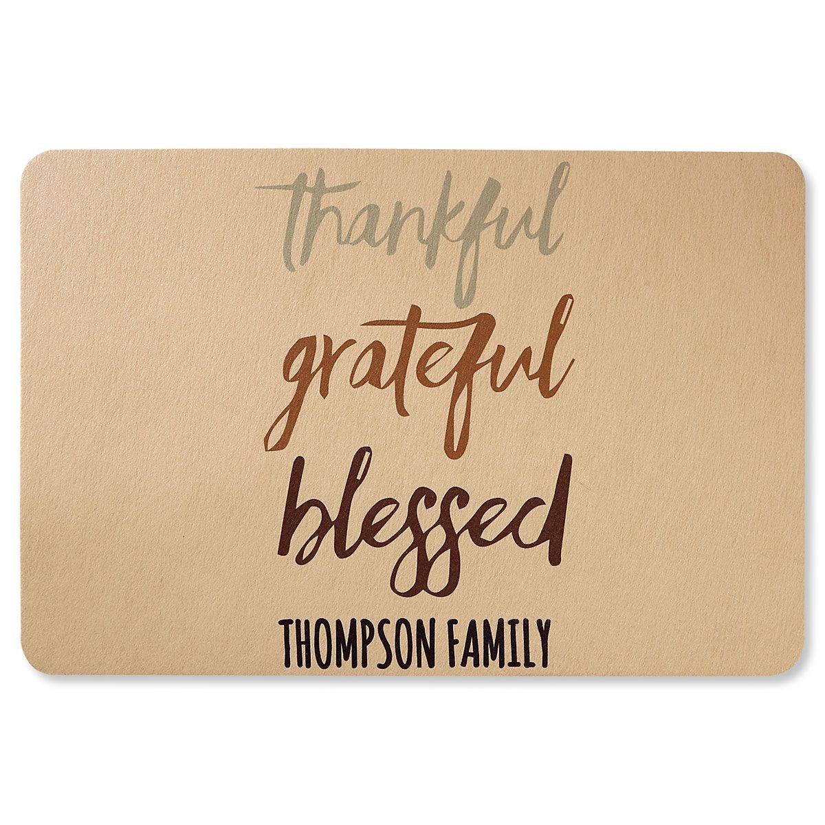 Custom Thankful Grateful Blessed Doormat