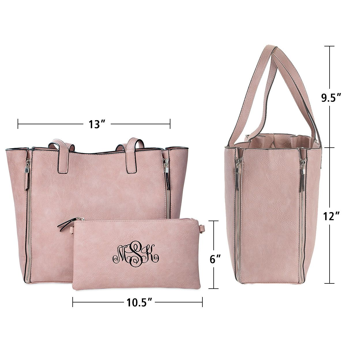 Custom Pink Carry-All Nora Tote Bag with Matching Crossbody Purse