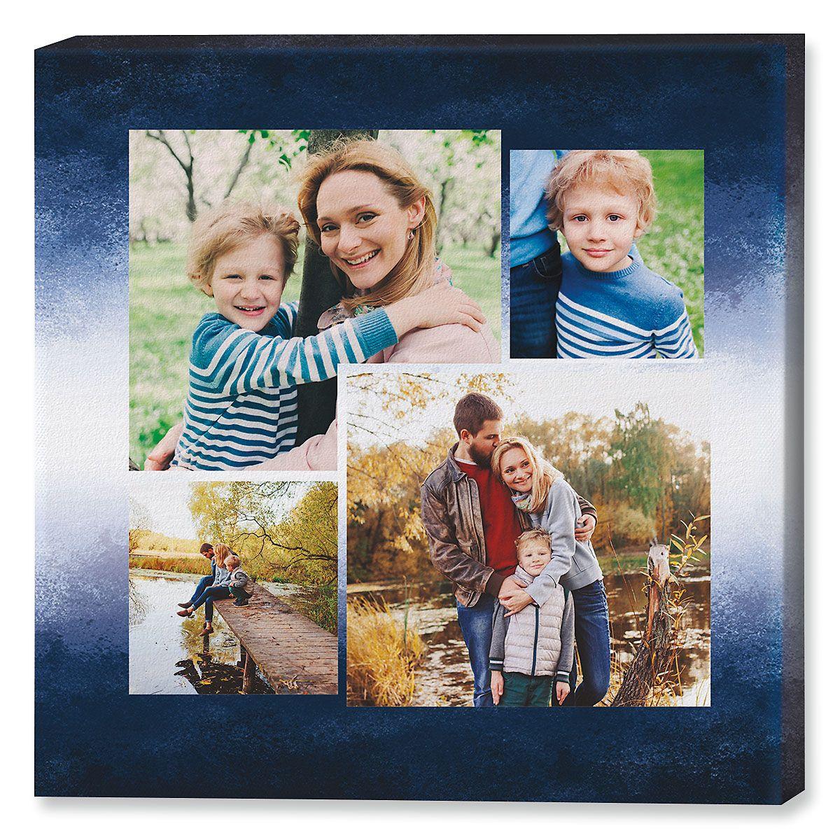Gradient Blue Collage Custom Photo Canvas