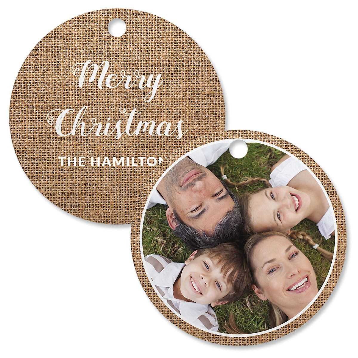 Burlap Custom Photo Ornament – Circle