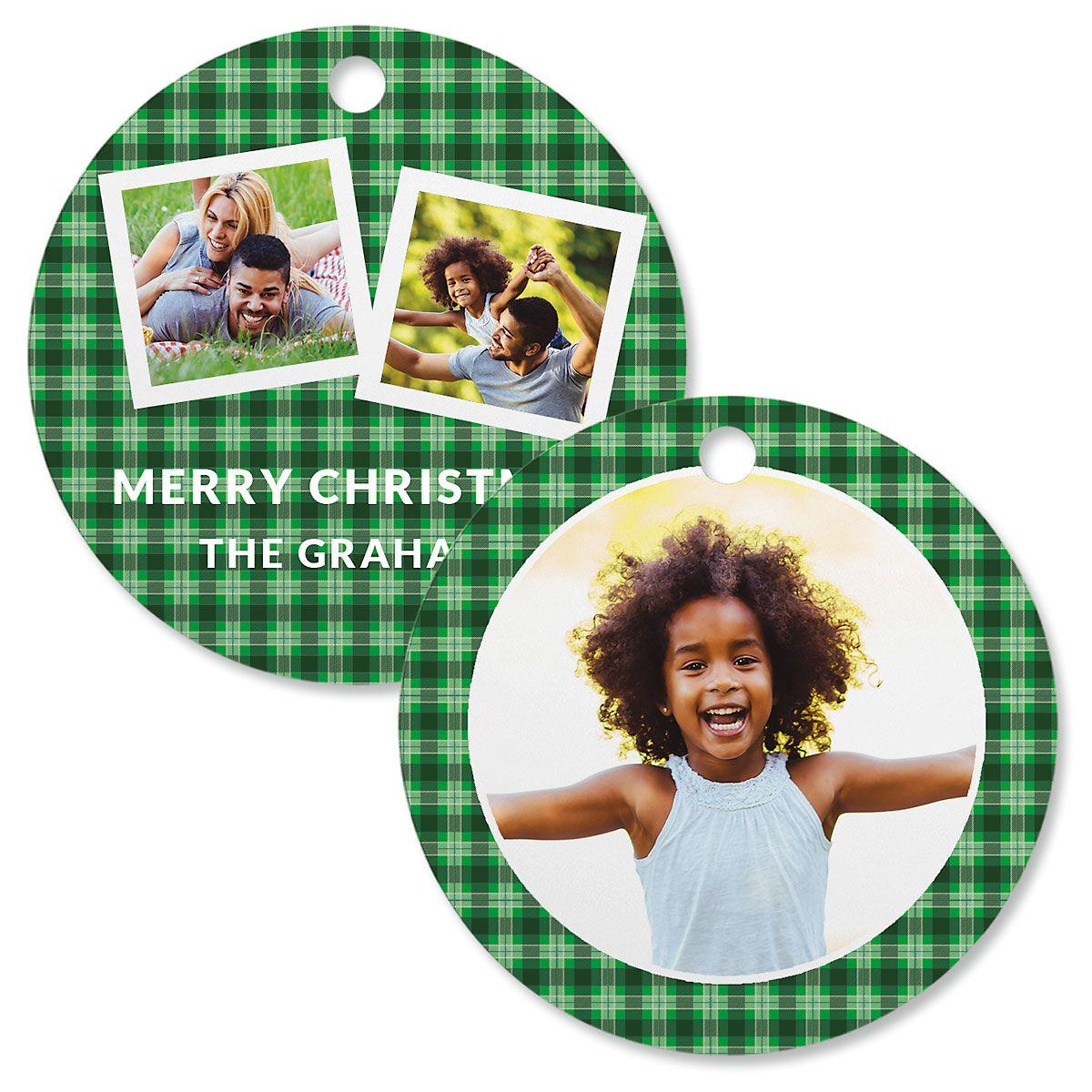 Green Plaid Custom Photo Ornament – Circle