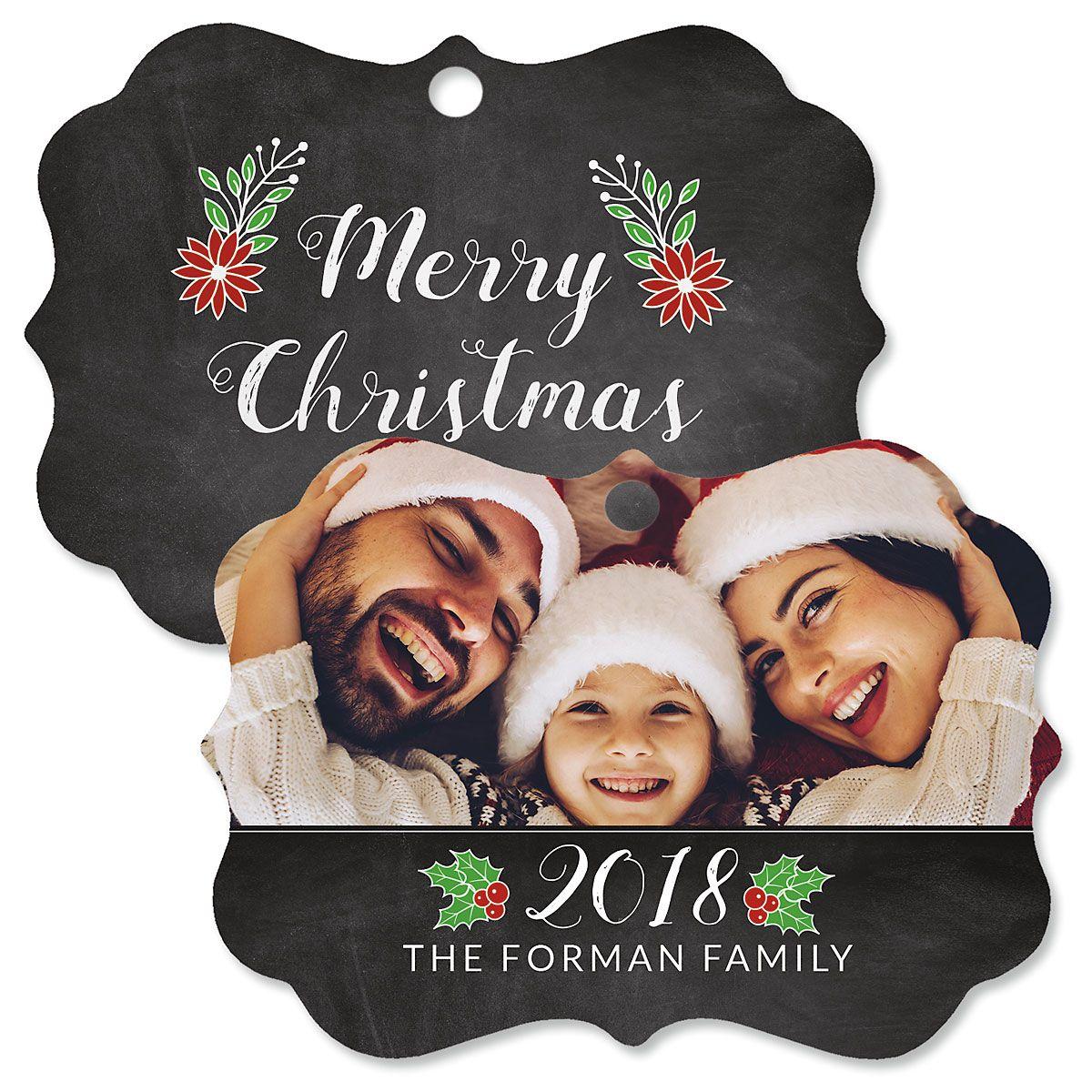 Merry Chalk Custom Photo Ornament - Bracket