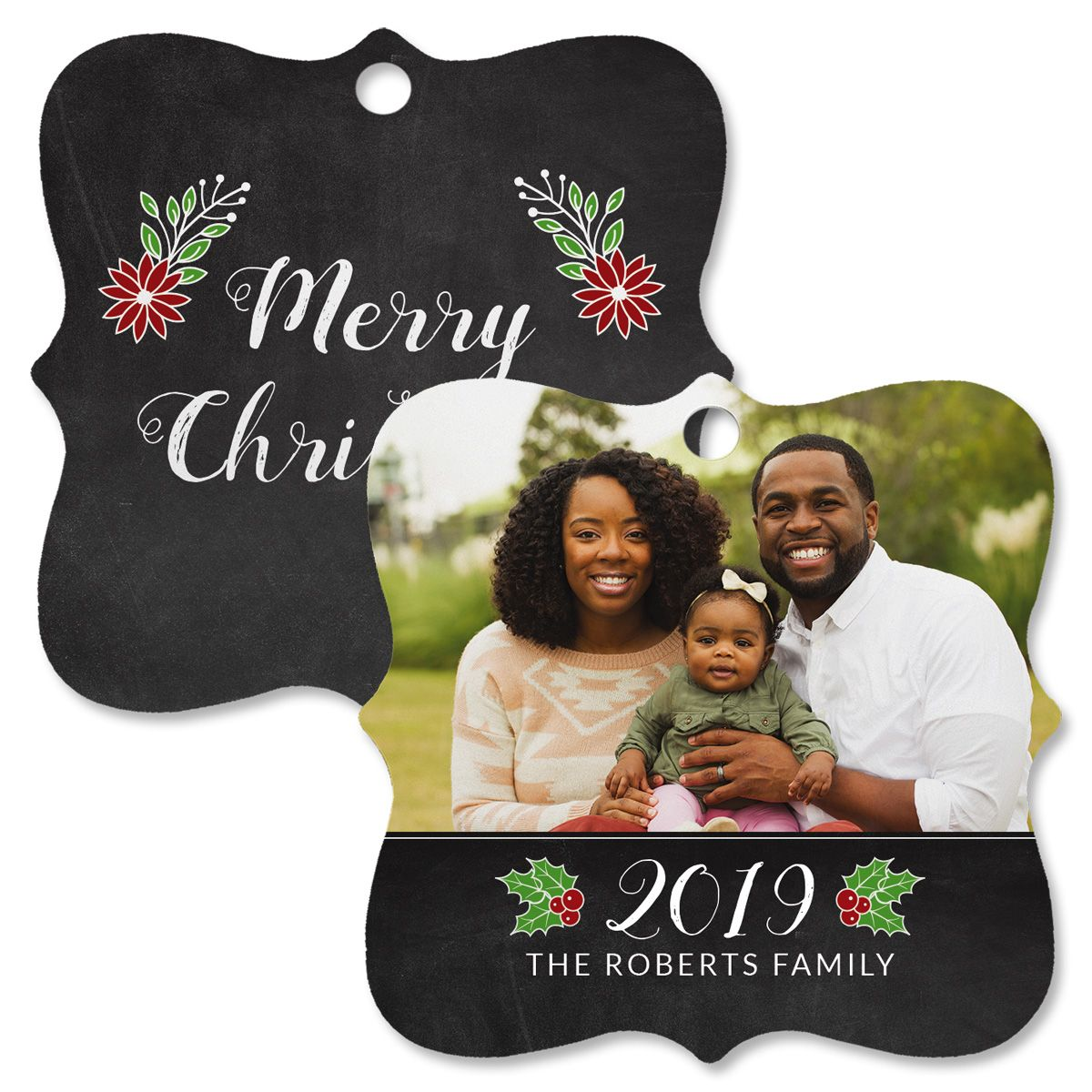 Merry Chalkboard Custom Photo Ornament – Square Bracket