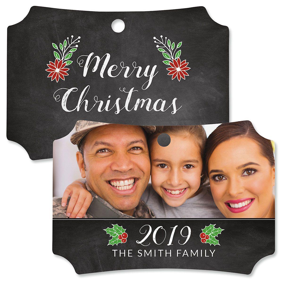 Merry Chalk Custom Photo Ornament – Deluxe