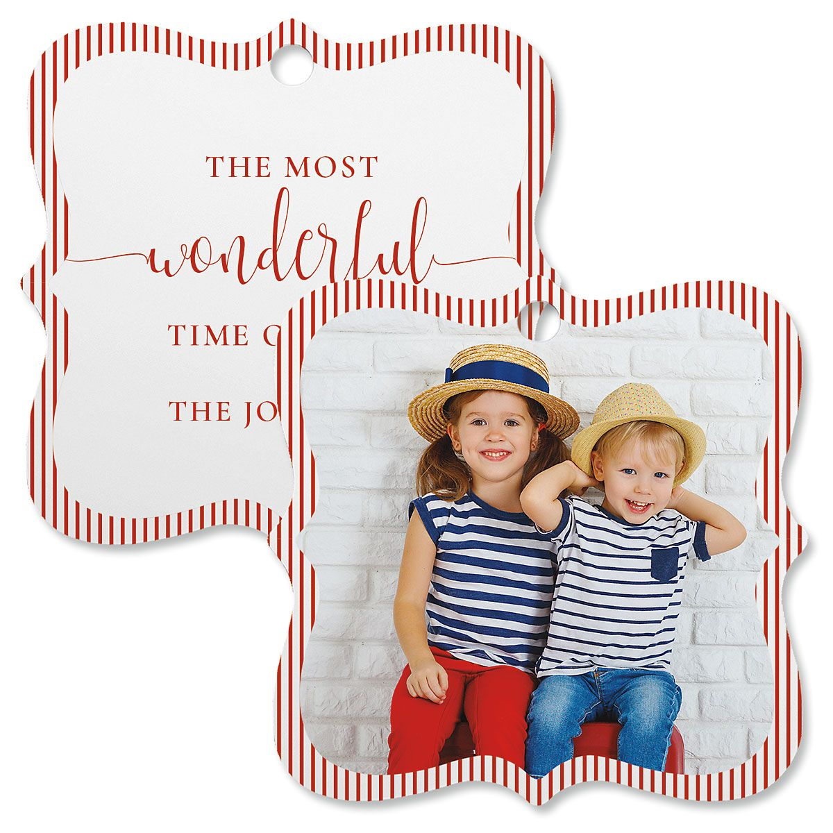 Pinstripe Custom Photo Ornament – Square Bracket