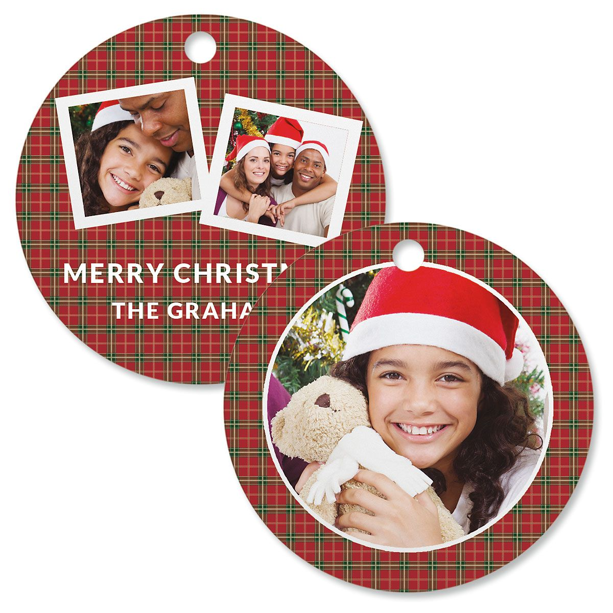 Red Plaid Custom Photo Ornament – Circle