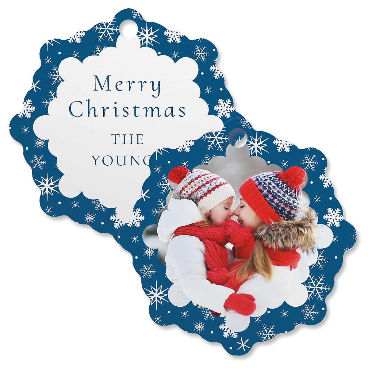 Blue Snowflake Custom Photo Ornament – Snowflake