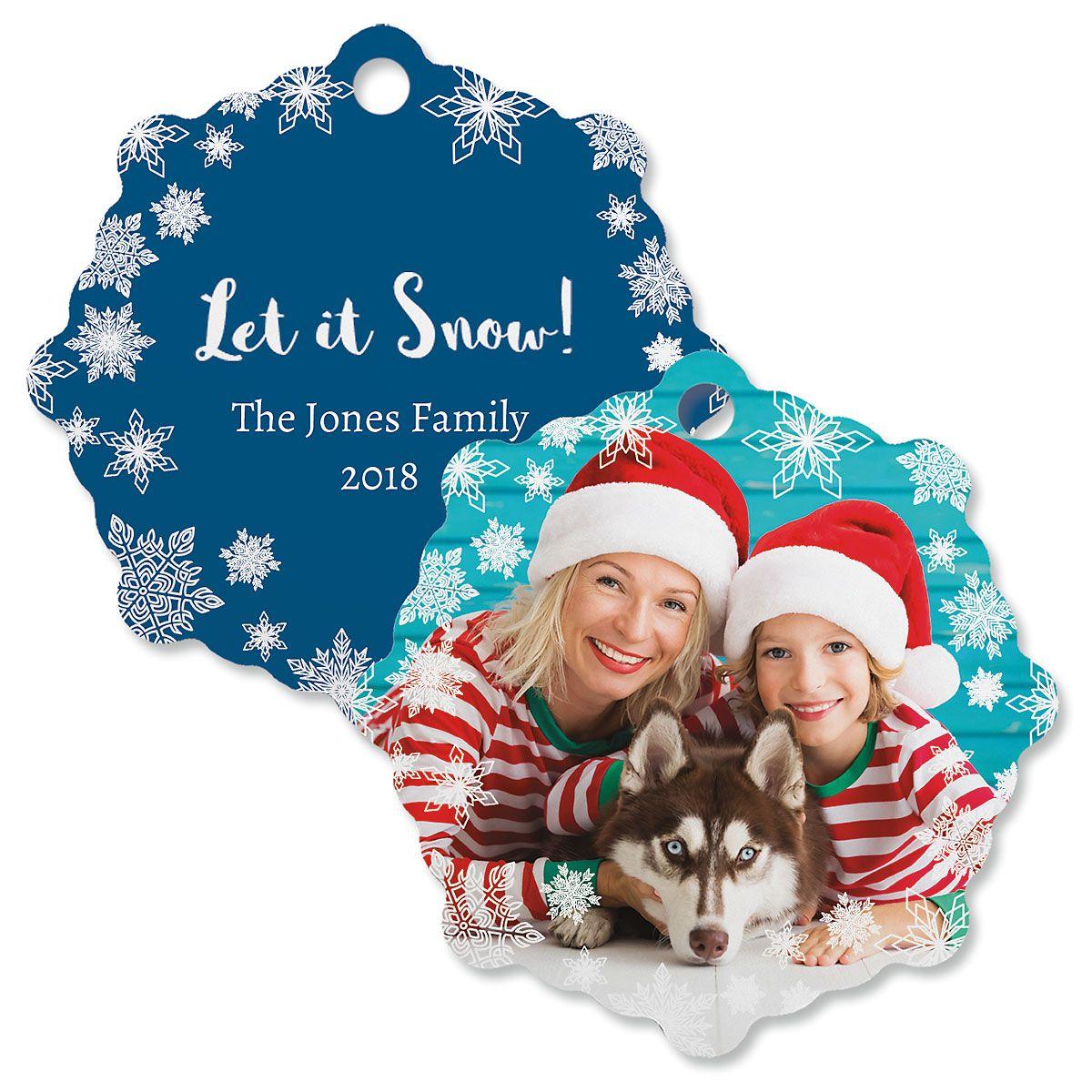 Let It Snow Custom Photo Ornament – Snowflake