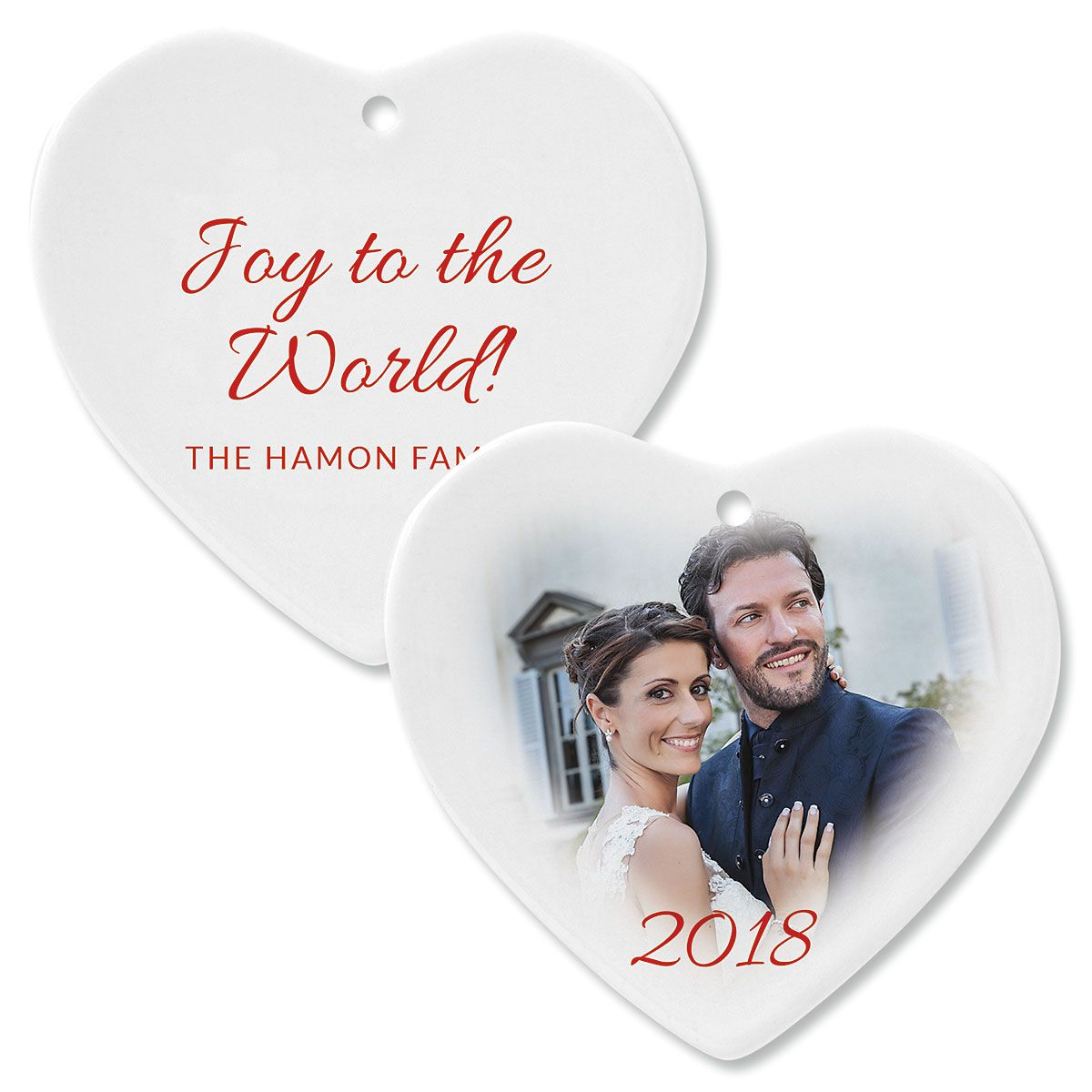 Joy Custom Photo Ornament – Heart