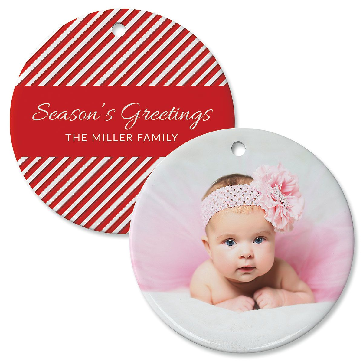 Candy Cane Custom Photo Ornament – Circle