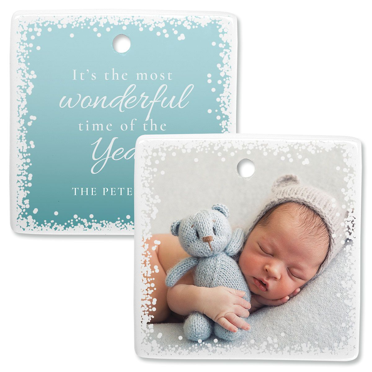 Confetti Snow Photo Ornament – Square 3