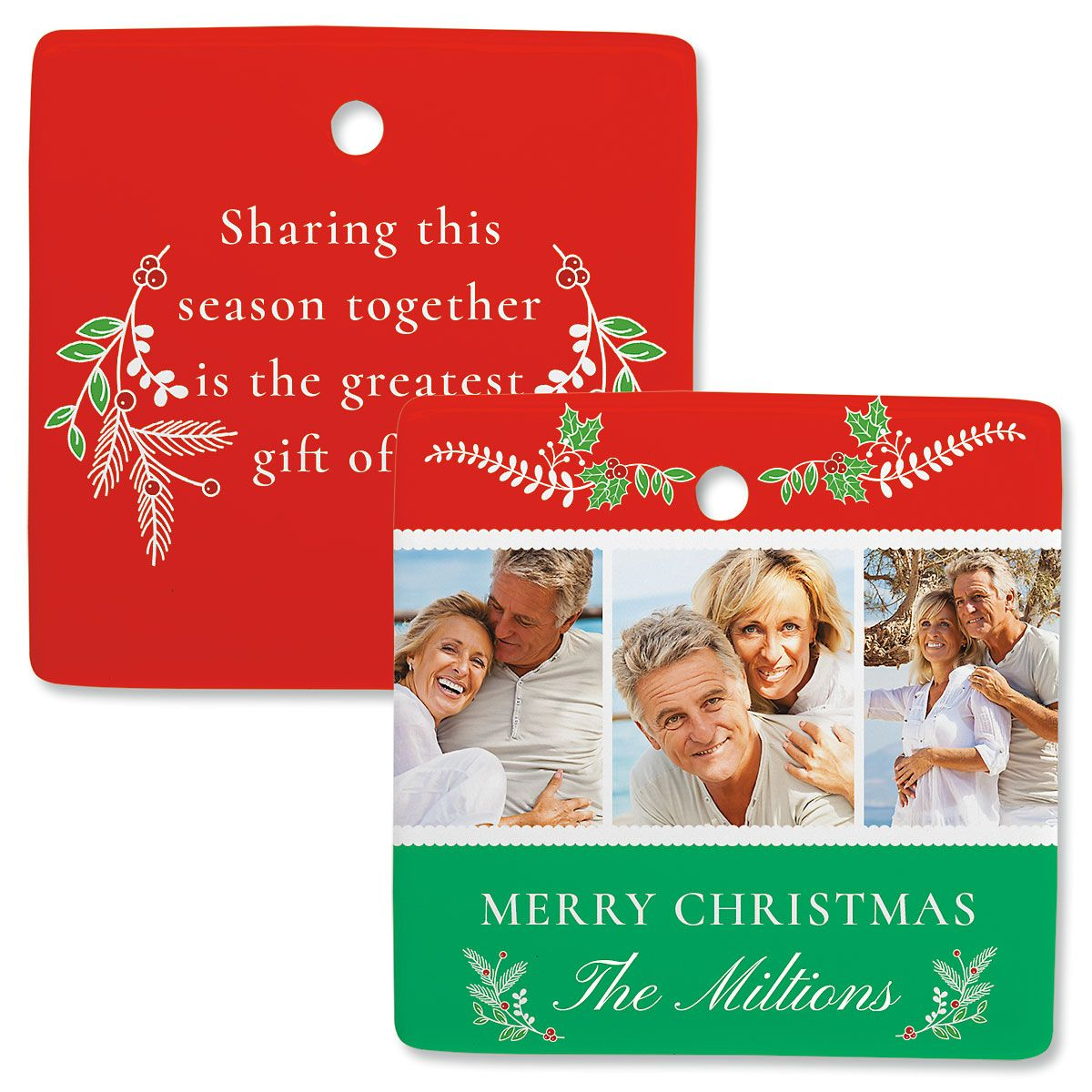 Holly Custom Photo Ornament – Square 3