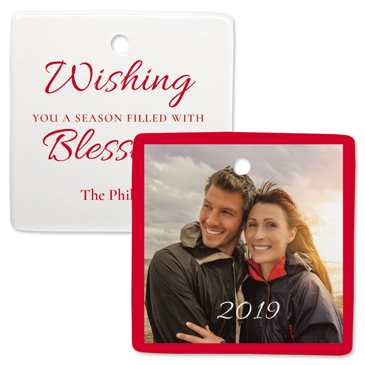 Blessings Custom Photo Ornament – Square