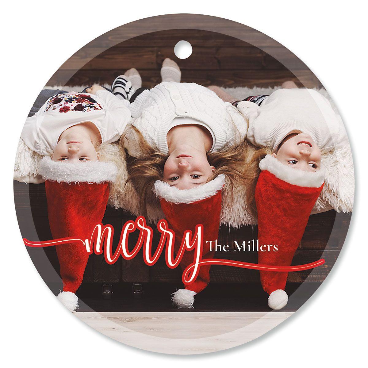 Merry Custom Photo Ornament – Glass Round
