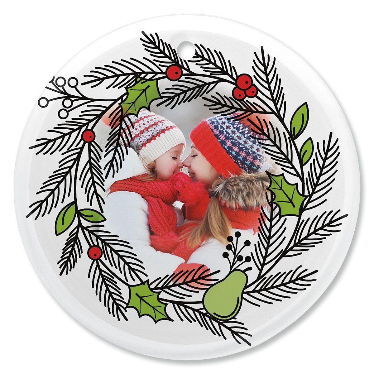 Wreath Custom Photo Ornament - Glass Round