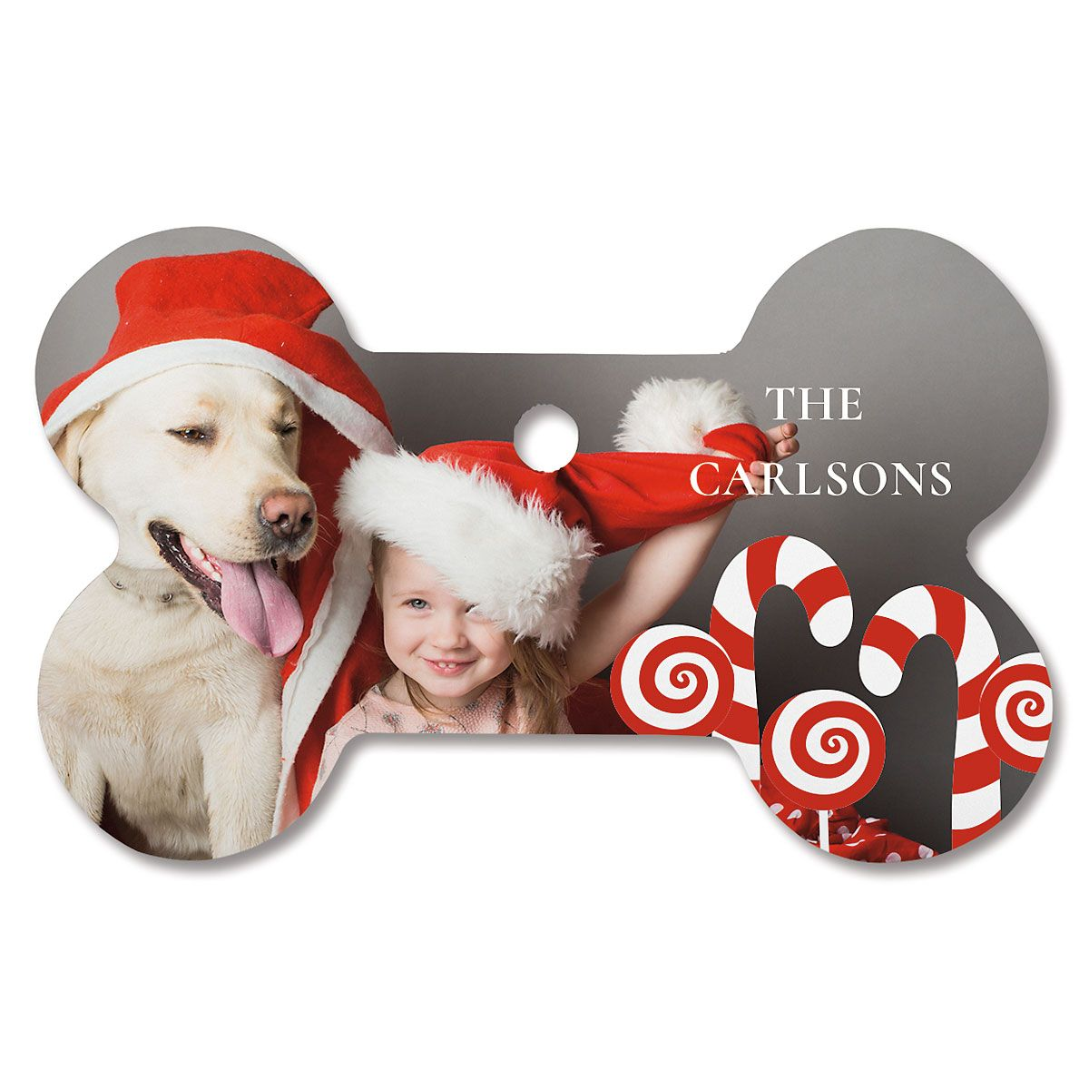 Candy Cane Custom Photo Ornament - Bone