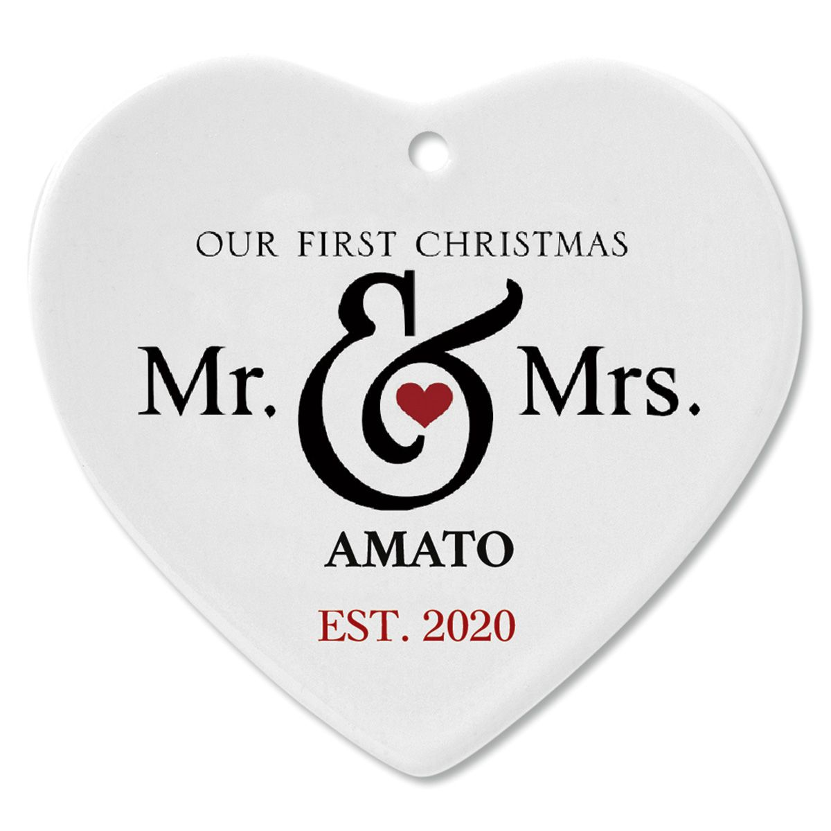 Mr. and Mrs. First Custom Christmas Ornament