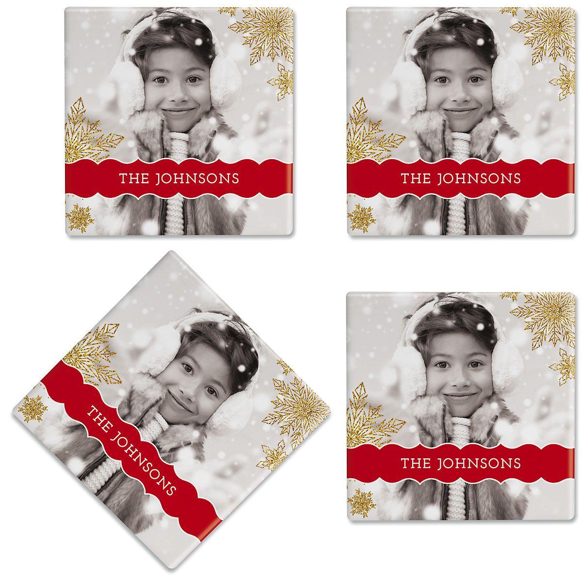 Glitter Snowflake Custom Photo Coasters