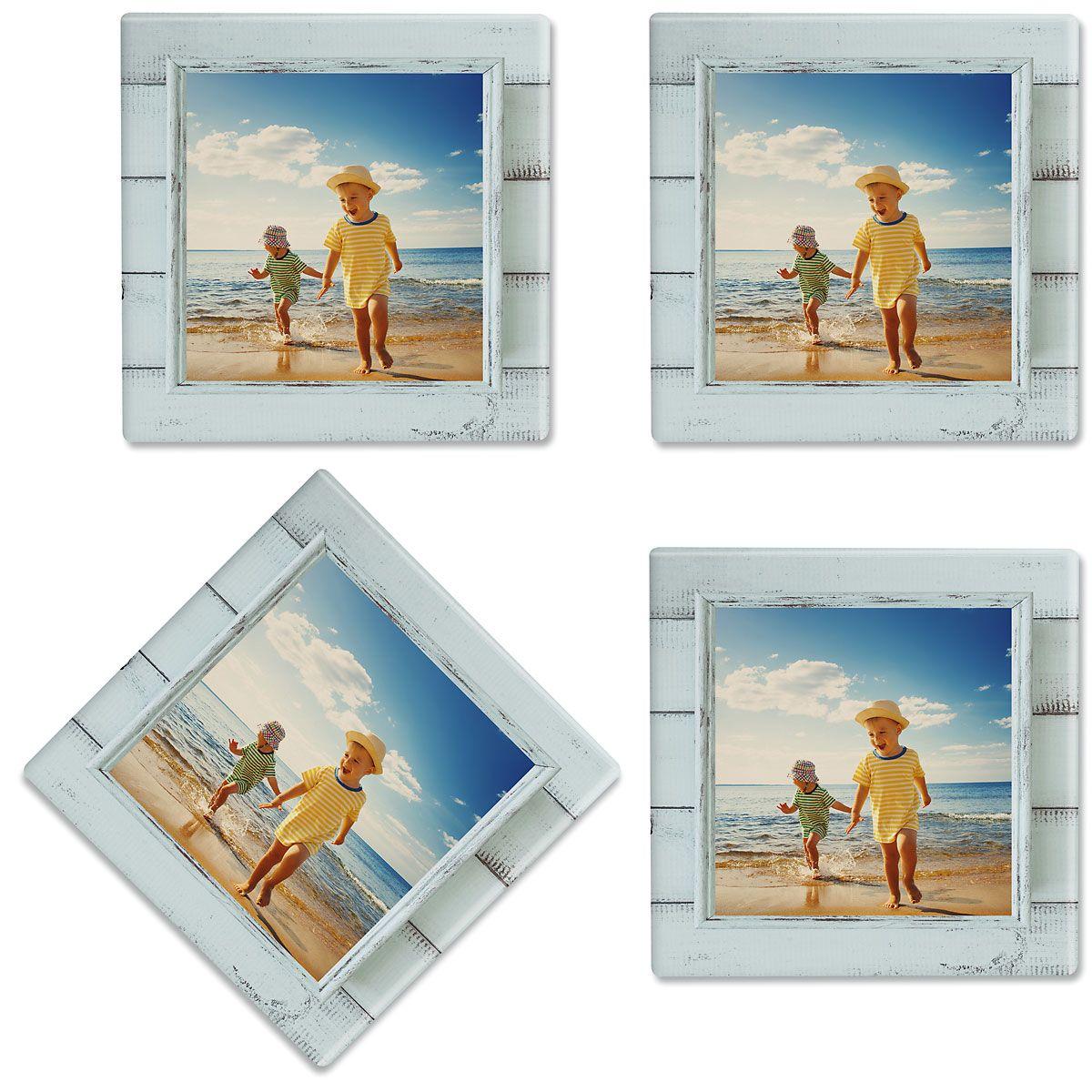 Rustic Blue Shiplap Frame Custom Photo Coasters