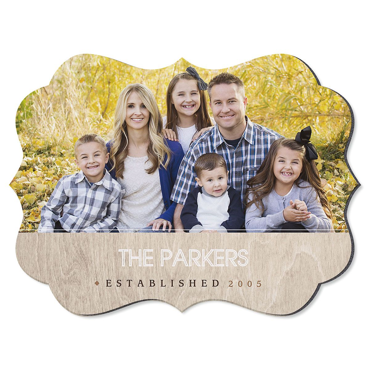Light Wood Family Name Benelux Custom Photo Plaque