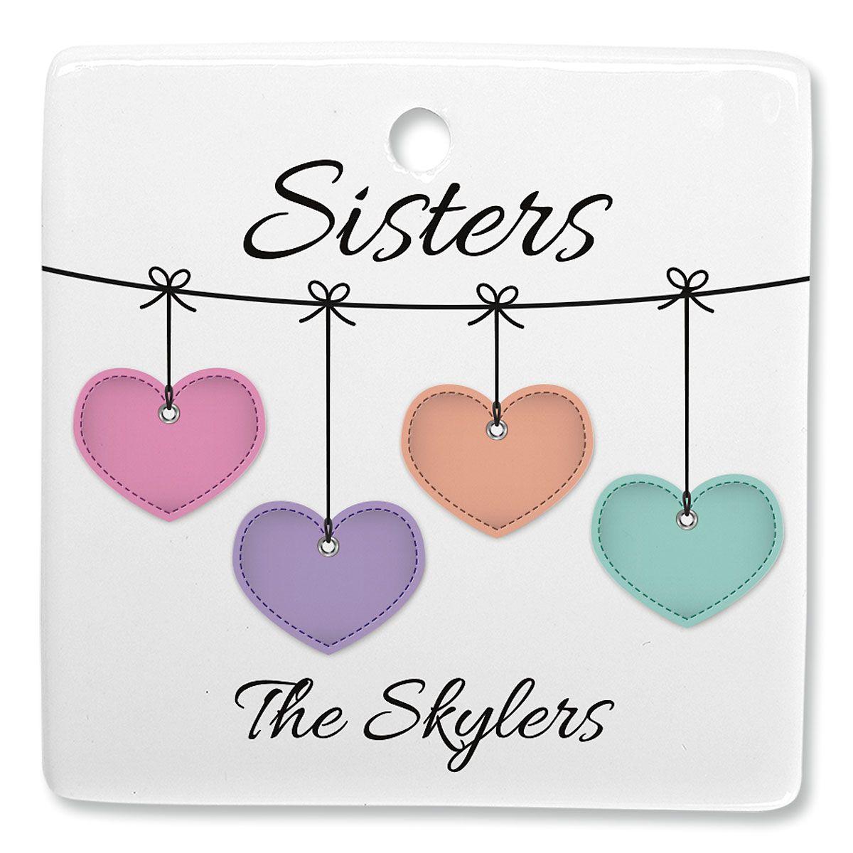 Sister Hearts Personalized Ornament Square