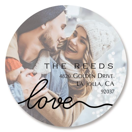 Love Round Black Caption Photo Return Address Label