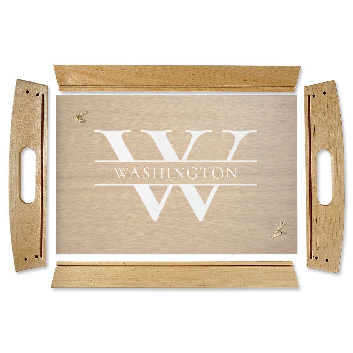 Custom Initial & Last Name Natural Wood Serving Tray