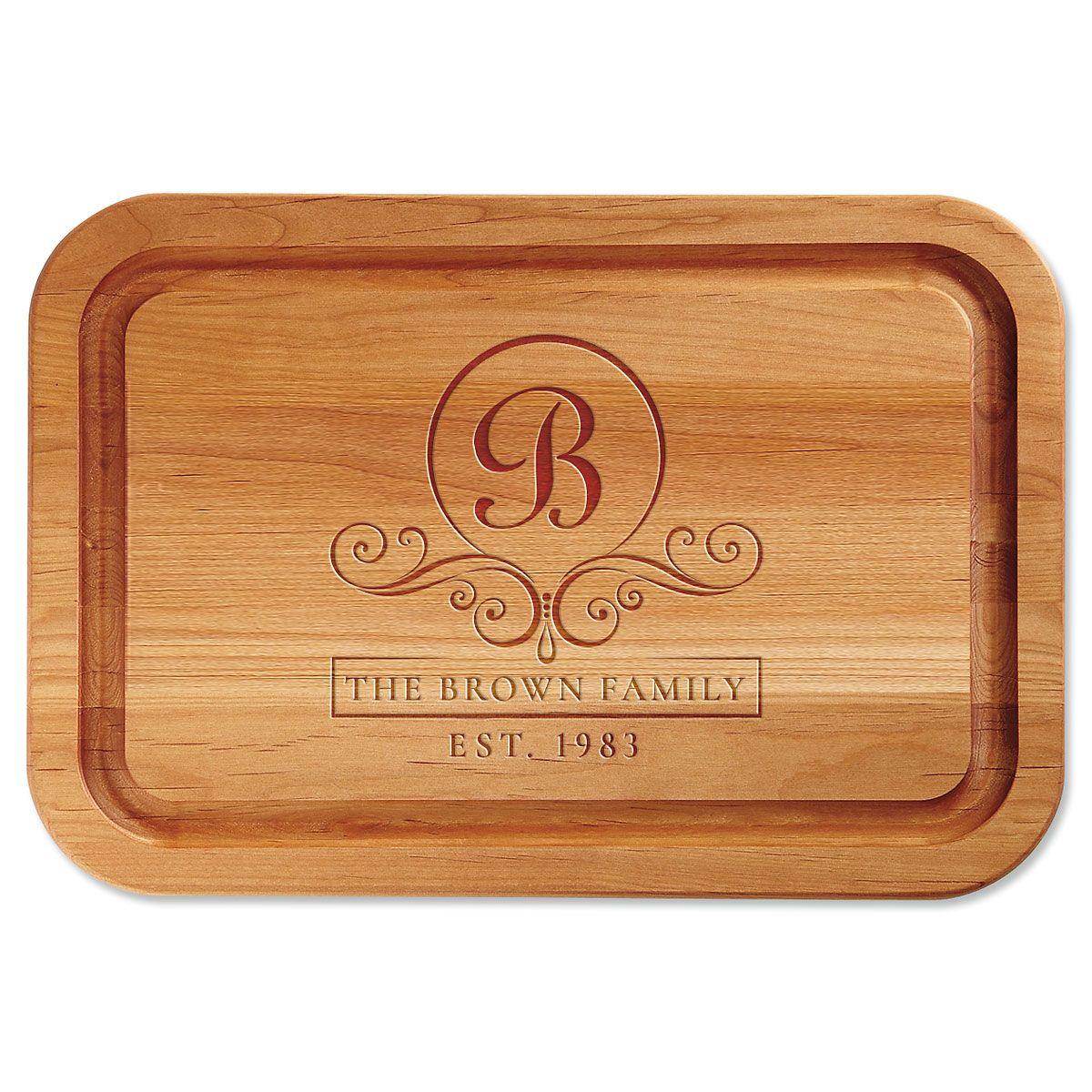 Alder Flourish Scroll Custom Wood Cutting Board