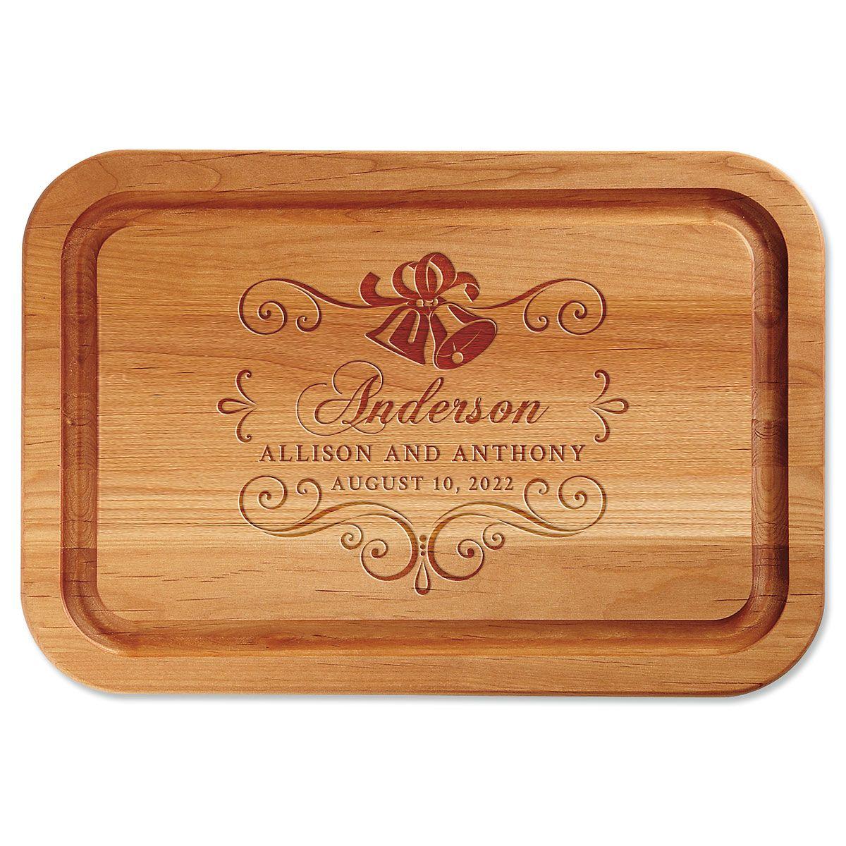Alder Wedding Bells Custom Wood Cutting Board