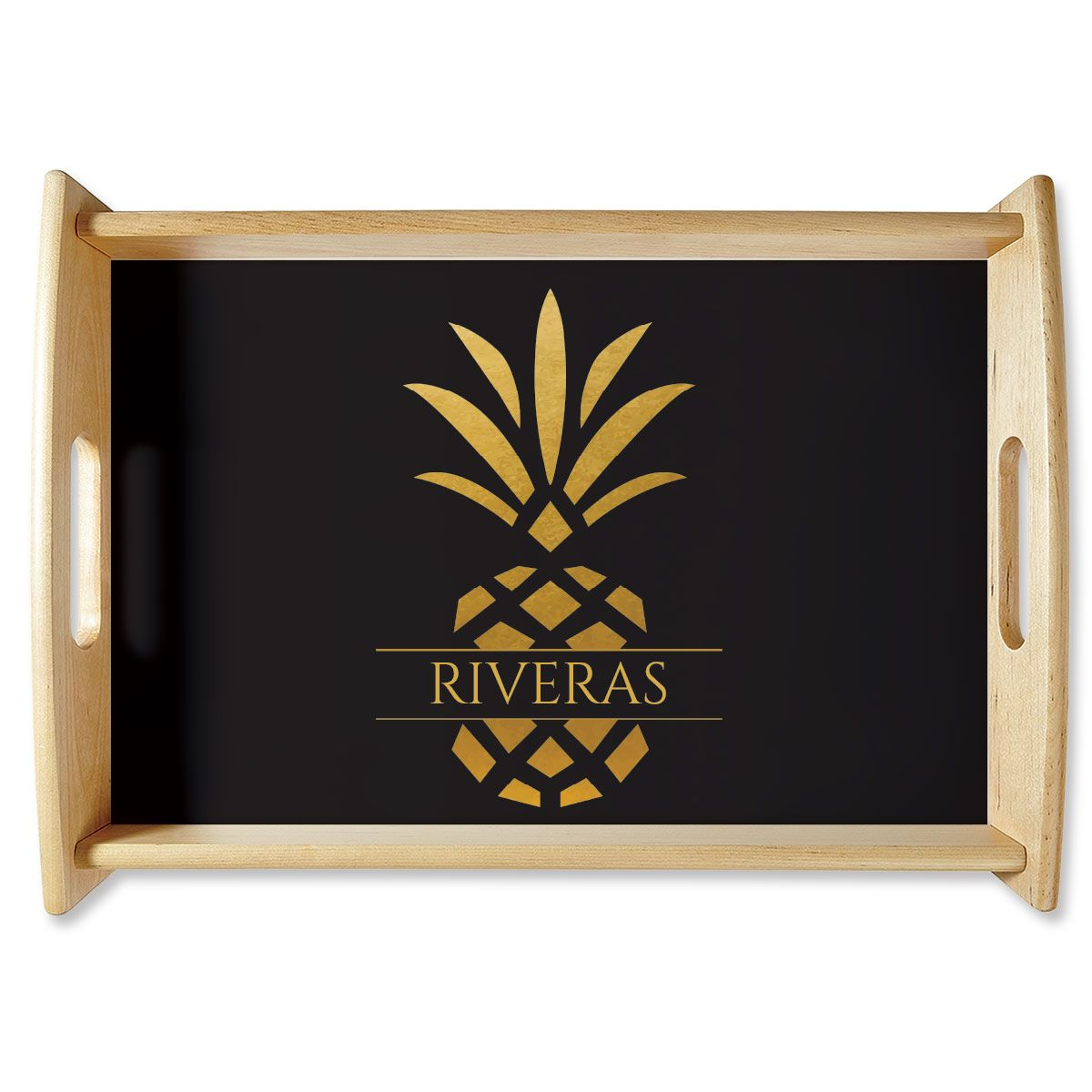 Custom Pineapple Family Name Natural Wood Serving Tray