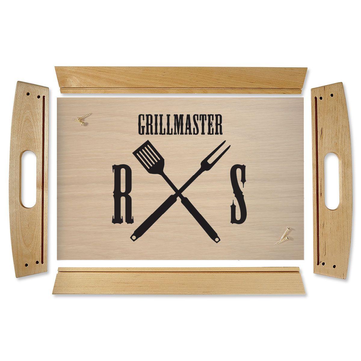 Custom Grillmaster Natural Wood Serving Tray