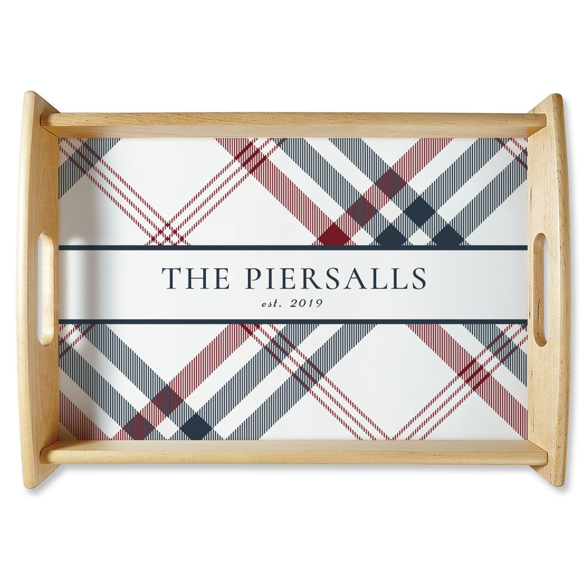 Custom Plaid Natural Wood Serving Tray