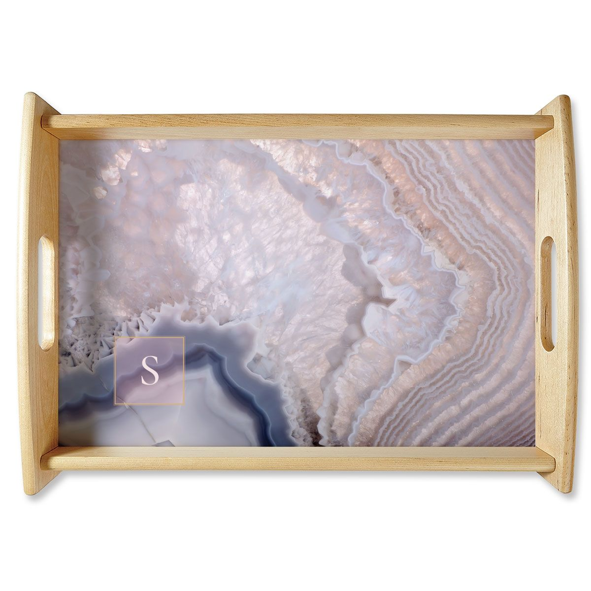 Custom Initialed Agate Natural Wood Serving Tray
