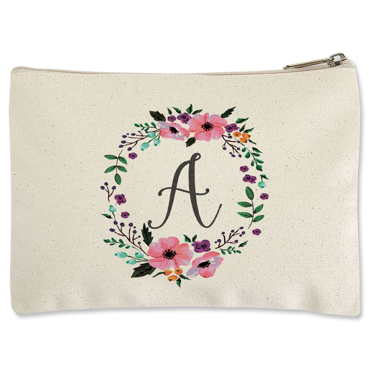 Custom Initial in Wreath Zippered Pouch