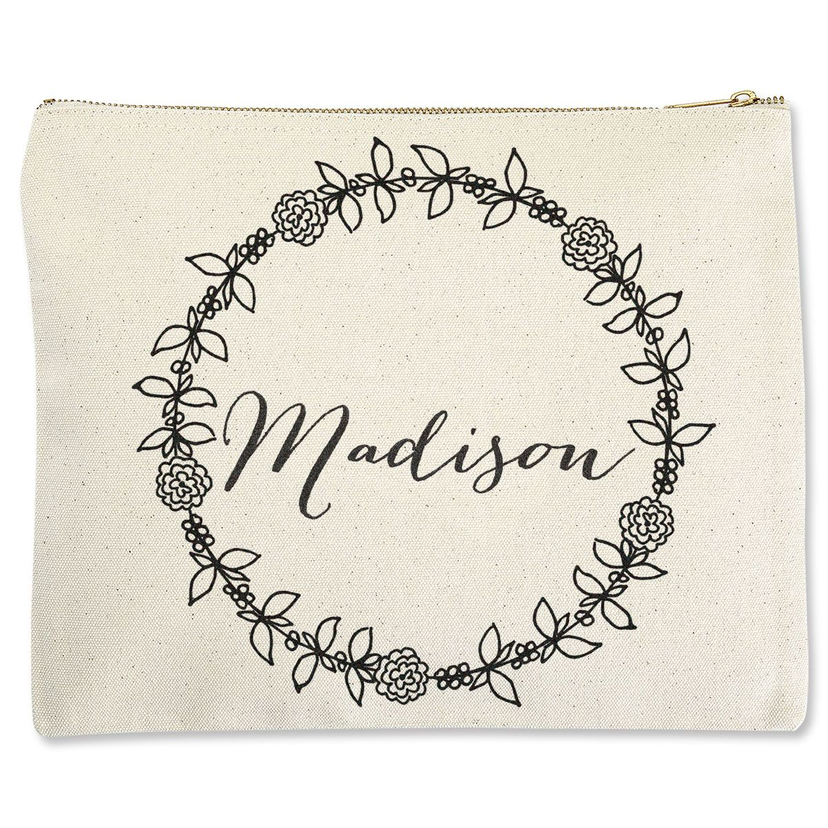 Custom Wreath with Name Zippered Pouch