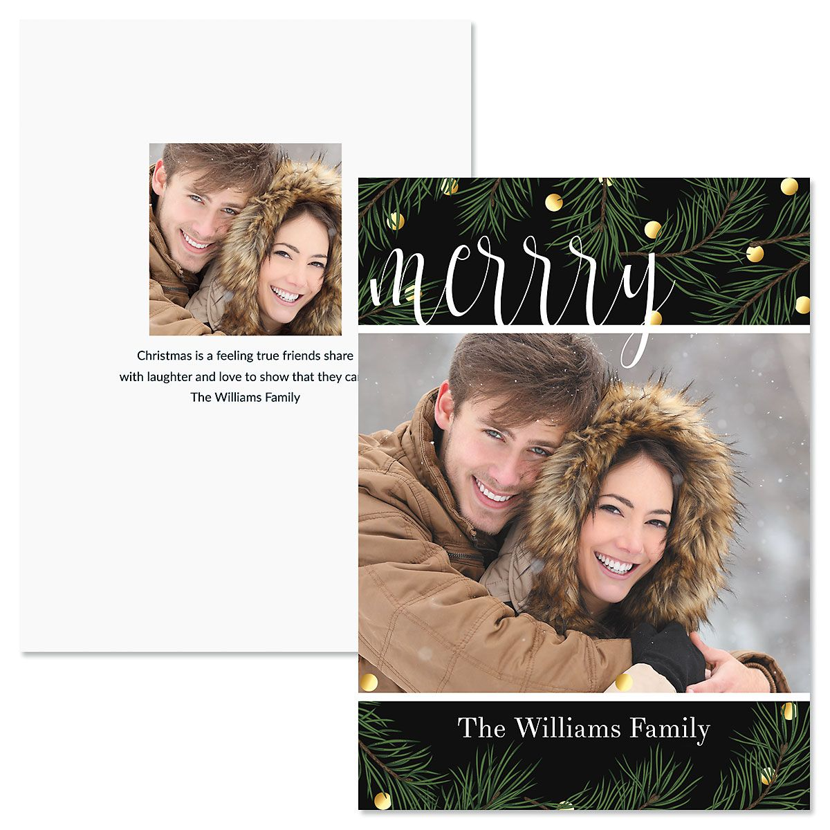 Pine Greeting Custom Photo Christmas Cards