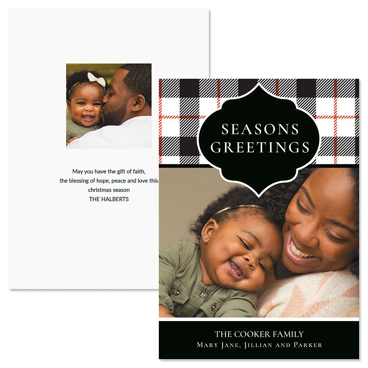 Buffalo Check Custom Photo Christmas Cards