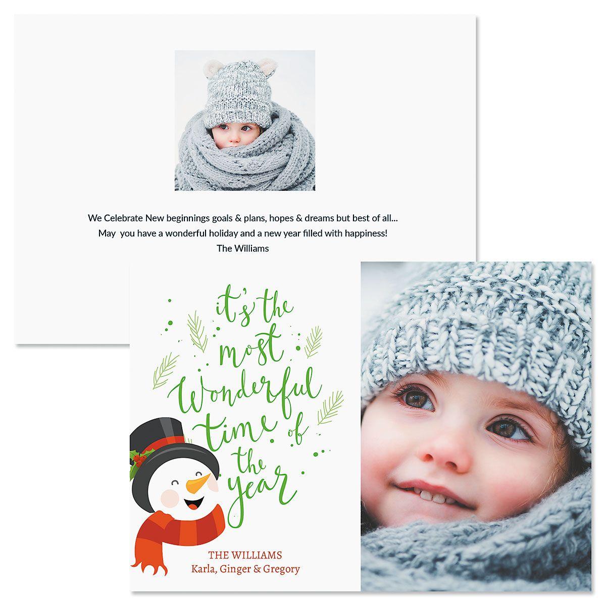 Laughing Snowman Custom Photo Christmas Cards