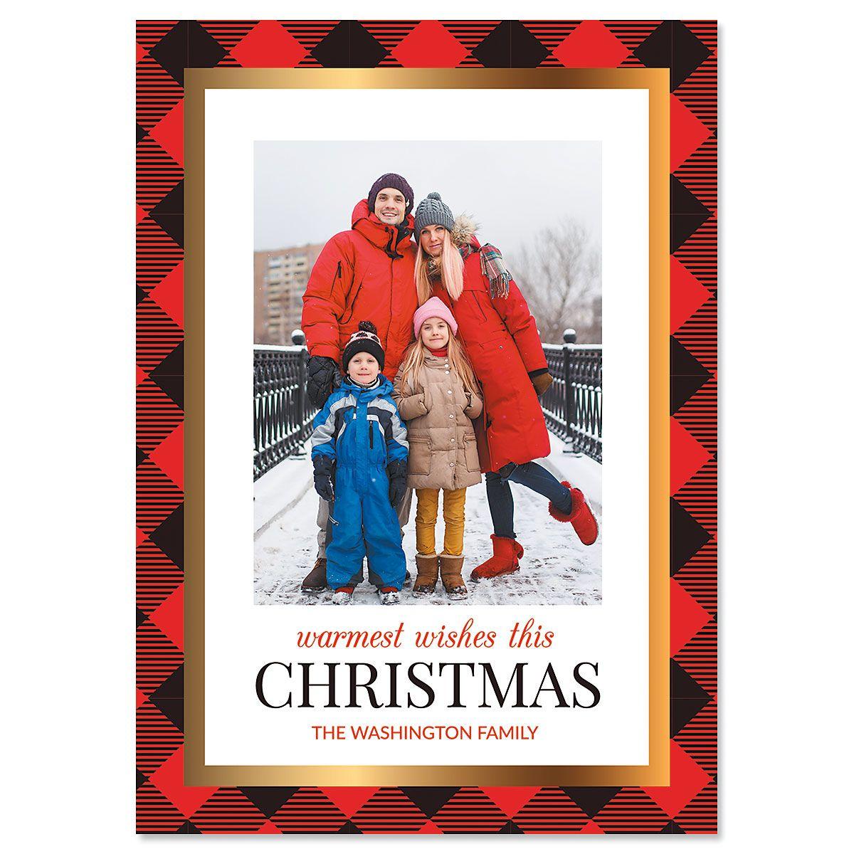 Red Buffalo Check Custom Photo Christmas Cards